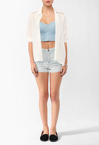 Forever 21 Femme Lace High-Low Shirt