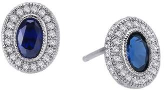 Lafonn Platinum Plated Sterling Silver Bezel Set Created Blue Sapphire & Simulated Diamond Pave Halo Stud Earrings