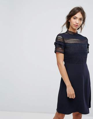 Vila Lace Detail Skater Dress