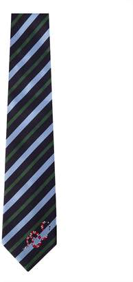 Gucci Striped Silk Tie With Kingsnake