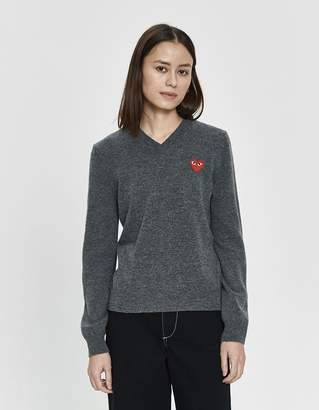 Comme des Garcons Play Red Heart V-Neck Pullover in Grey