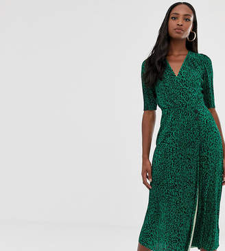 9626a5324c77 Asos Tall DESIGN Tall midi plisse dress in green animal print with button  detail