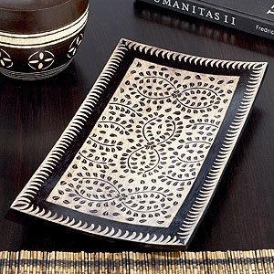Cream/Brown Batik Tray
