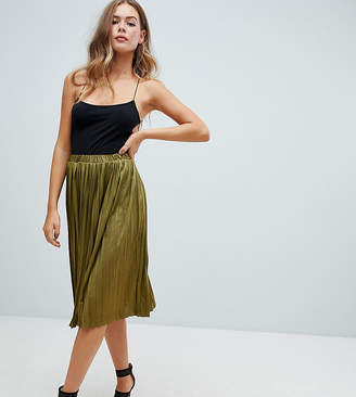 Missguided pleated midi skirt in khaki