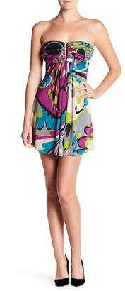 Sky Split V-Neck Strapless Silk Dress