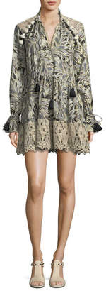 Alexis Persia V-Neck Long-Sleeve Palm-Print Dress