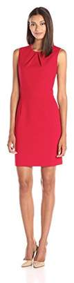 Lark & Ro Women's Pleated-Neckline Sheath Dress