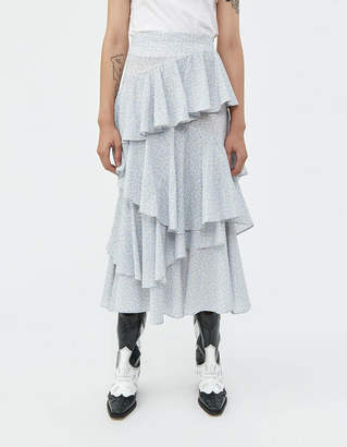 ALEXACHUNG Alexa Chung Long Tiered Ruffle Skirt in Ivory/Blue