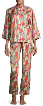 Natori Dynasty Pearl-Print Pajama Set, Red/Multicolor $180 thestylecure.com