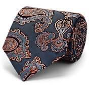Brioni Men's Paisley Silk Jacquard Necktie - Blue