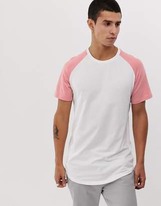 Jack and Jones Originals longline curved hem raglan sleeve t-shirt in white/pink