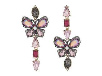 Betsey Johnson Butterfly and Multi Stone Non-Matching Earrings
