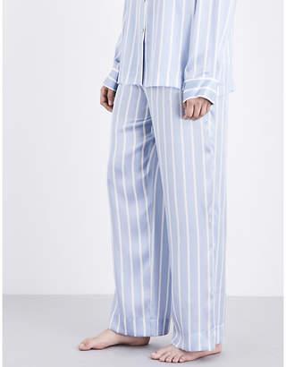 Asceno Sky stripe silk-satin pyjama bottoms