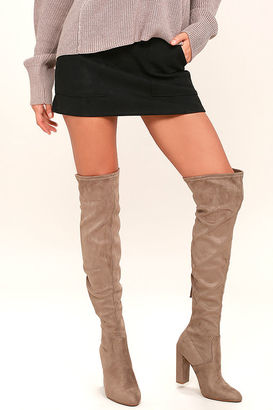 Steve Madden Emotions Taupe Suede Over the Knee Boots $99 thestylecure.com