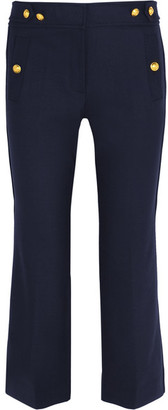J.Crew - Sailor Cropped Wool-blend Straight-leg Pants - Navy $175 thestylecure.com