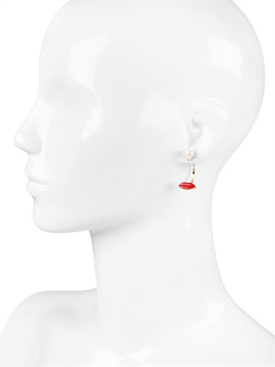 Delfina Delettrez Red Mouth And Pearl Earrings