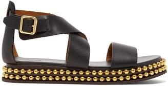 Chloé Beaded-flatform leather sandals