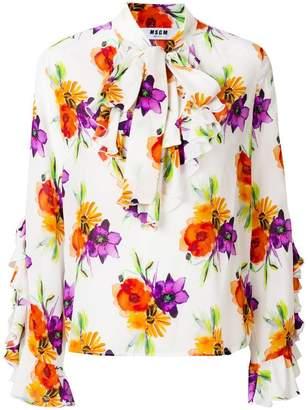 MSGM longlseeve tie neck blouse