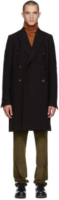 Rick Owens Black Wool JMF Peacoat