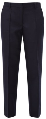 Officine Generale Roxanne Felted Wool Straight Leg Trousers - Womens - Navy