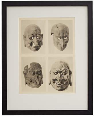 Rejuvenation Framed Photogravure of Four Chinese Masks