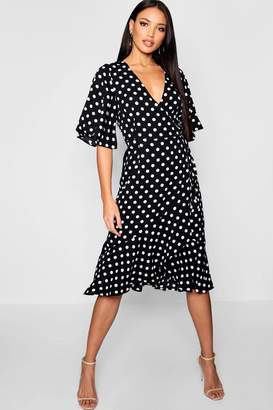 boohoo Wrap Front Ruffle Hem Polka Dot Midi Dress