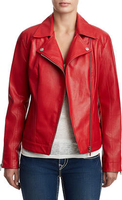 True Religion WOMENS MOTO VEGAN LEATHER JACKET