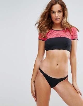 Pistol Panties Neon Pink Mesh Cap Sleeve Bikini Set