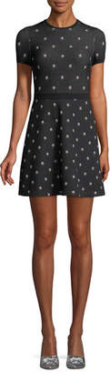 Valentino Cap-Sleeve Rosebud Knit Dress