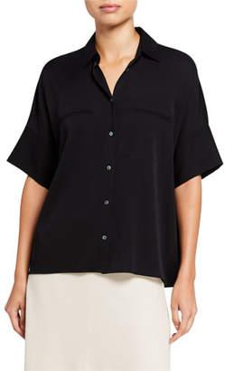 Vince Short-Sleeve Button-Down Stretch Silk Blouse