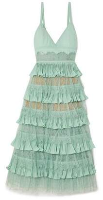 Elie Saab Tiered Plissé-Crepe Tulle And Lace Midi Dress