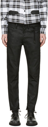 Off-White Black Sprayed Diagonals Cropped Jeans $525 thestylecure.com