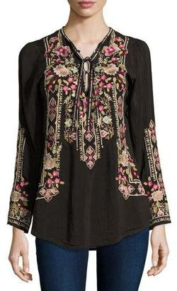 Johnny Was Fabio Embroidered Blouse $220 thestylecure.com
