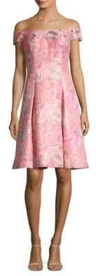 Aidan Mattox Off-The-Shoulder Floral Jacquard Dress