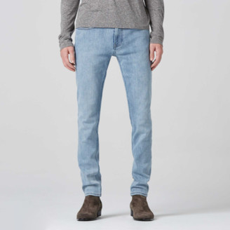 DSTLD Mens Skinny Jeans in Fifteen Year Bleach Blue - Grey Stitch