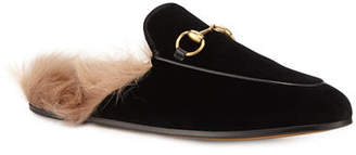 Gucci 10mm Princetown Velvet Mule with Fur