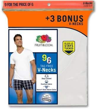 Fruit of the Loom Men's Classic White V Necks, 6+3 Bonus Pack