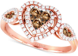 Le Vian Chocolatier® Diamond Hearts Ring (1/2 ct. t.w.) in 14k Rose Gold $3,601 thestylecure.com