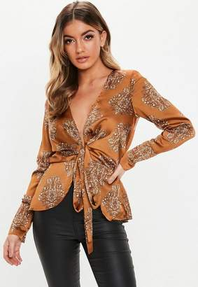 Missguided Rust Cuff Sleeve Floral Tie Front Blouse