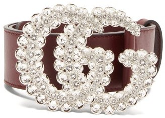 Gucci Gg Crystal Embellished Leather Belt - Womens - Burgundy