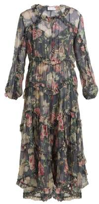 Zimmermann Iris Floral Print Sheer Silk Dress - Womens - Charcoal Print