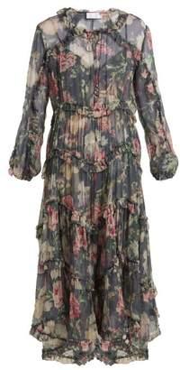 Zimmermann Iris Floral Print Sheer Silk Dress - Womens - Charcoal Print