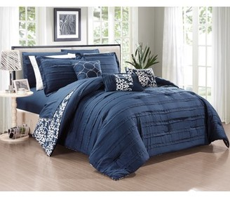 Chic Home 10-Piece Zarina Complete ruffles and Reversible Printed King Bed In a Bag Comforter Set Navy Sheets Included