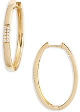 Bony Levy Diamond Oval Hoop Earrings