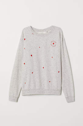 H&M Embroidered Sweatshirt - Gray