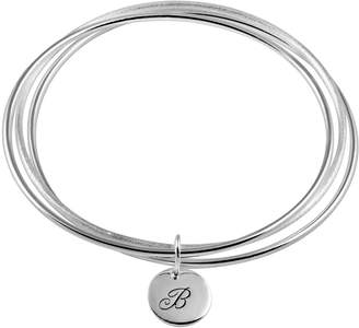 Silver-Plated Initial Charm Bangle Bracelet