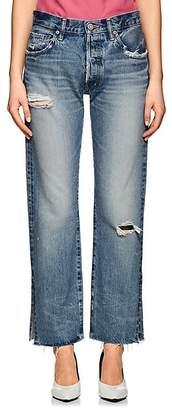 Moussy Women's Alva Distressed Straight Jeans