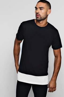 boohoo Longline Faux Layer T-Shirt