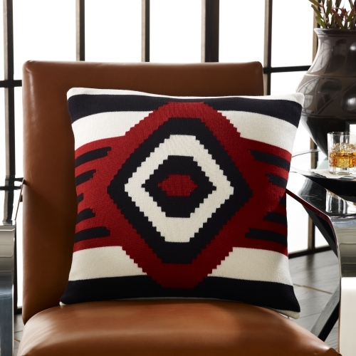 Black Adobe Knit Throw Pillow