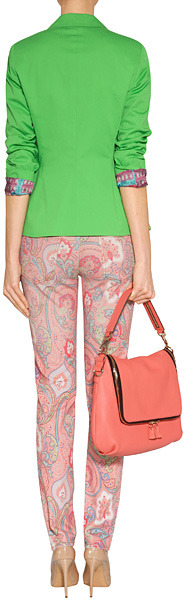 Etro Washed Flamingo Pink-Multi Print Cotton-Stretch Jeans